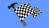 Graphic of a start flag attached to a hammer