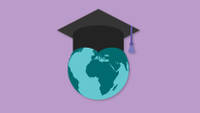 Graphic of globe with graduation cap
