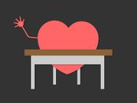 An illustration of a heart at a school desk, raising its hand.