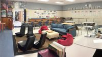 A high school classroom with flexible seating.