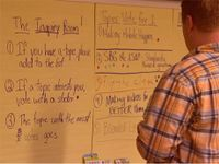 A photo of a teacher at a whiteboard in a strategy session.