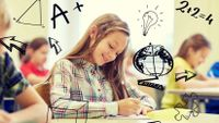Photo of a girl taking a test, with illustrations drawn on the photo