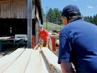 Boy working with a man at a lumber mill