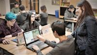 High school students use Minecraft in a classroom.