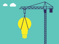 An illustration of a giant lightbulb being suspended on a crane.