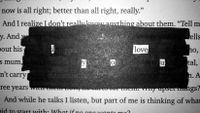"A passage in a book is blacked out, leaving visible letters that spell ""I love you."""