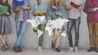 Diverse students read books.