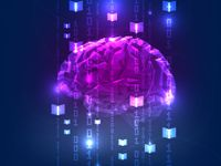 A purple, digitized brain, floating against a blue, digitized backdrop with the numbers one and zero forming vertical lines across the brain.