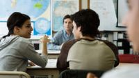 High school students participate in classroom discussion