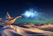 A magic lamp sitting on a sand dune in a desert, a wisp of blue light coming out of it