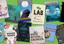 A collage of book covers that feature women and girls in STEM