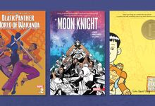 The covers of three graphic novels: Black Panther, Moon Knight, and American Born Chinese
