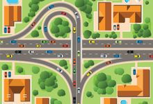 An illustration of cars driving on a highway