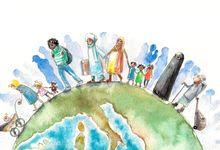 A watercolor painting depicting people of all nationalities and backgrounds walking across the globe