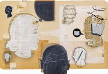 An abstract illustration of a silhouette of a girl's head with a thought bubble, looking at other head silhouettes filled with text from books