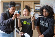 Students construct a model wind turbine for the Green Energy Pathway at Skyline High School in Oakland.