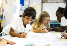 A group of elementary children draw at an art station in class
