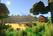 A screenshot of gameplay in the videogame Eco, depicting a player-built cabin by a peaceful lake with trees