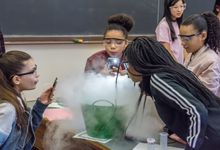 Middle school girls participate in a science investigation