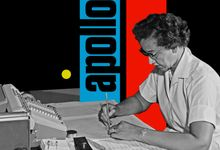 "A photo of mathematician Katherine Johnson working at NASA superimposed on a black, blue, and red background with the word ""Apollo"" behind her"