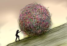 An illustration of a woman pushing a large, messy, tangled ball up a hill