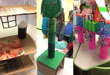A photo collage of a school makerspace