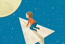 An illustration of a little boy riding a paper airplane to the moon