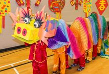 Students participating in Chinese New Year celebration at school
