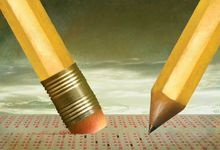 An illustration of large scale pencils approaching a standardized test