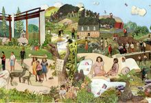 A collage of a landscape where people are gathering knowledge from their surroundings