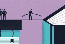 Illustration concept showing bridging the gap in bookshelf equity