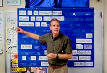 Spanish teacher pointing at Spanish words at the front of a classroom