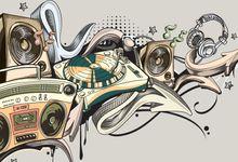 Illustration concept for hip-hop music