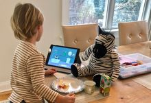 A boy uses an iPad at home