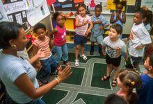 Teacher working with her pre-kindergarten students