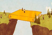 An illustration of a divide with an educational book as a bridge