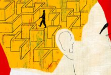 Illustration of a person contemplating a maze it their head