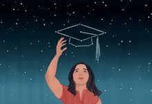 An illustration of a young woman reaching for a graduation cap in the stars