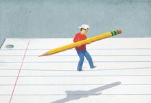 An illustration concept of a student walking a tightrope on a sheet of notebook paper