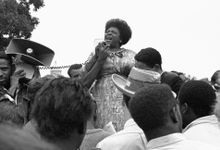 In this Sept. 17, 1965 file photo, Fannie Lou Hamer, of Ruleville, Miss., speaks to Mississippi Freedom Democratic Party sympathizers outside the Capitol in Washington