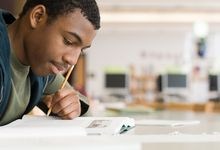 A high school student studies