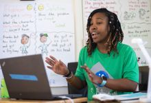 Teacher instructs her class remotely from her home