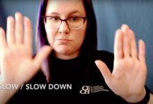 Emma Kreiner demonstrating ASL