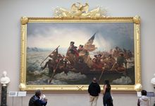 People view Washington Crossing the Delaware by Emanuel Leutze displayed at the Metropolitan Museum of Art