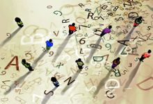An illustration of figures standing among a scattered alphabet