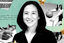A photo collage featuring Angela Duckworth