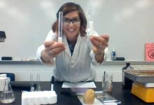 Science teacher recording science lab for distance learning