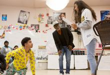 Students rehearsing a play in a high school drama class