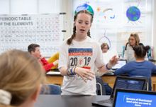 A sixth-grade student shares her project about weather-related natural disasters.