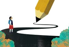 An illustration of an elementary school girl being shown a path to a goal